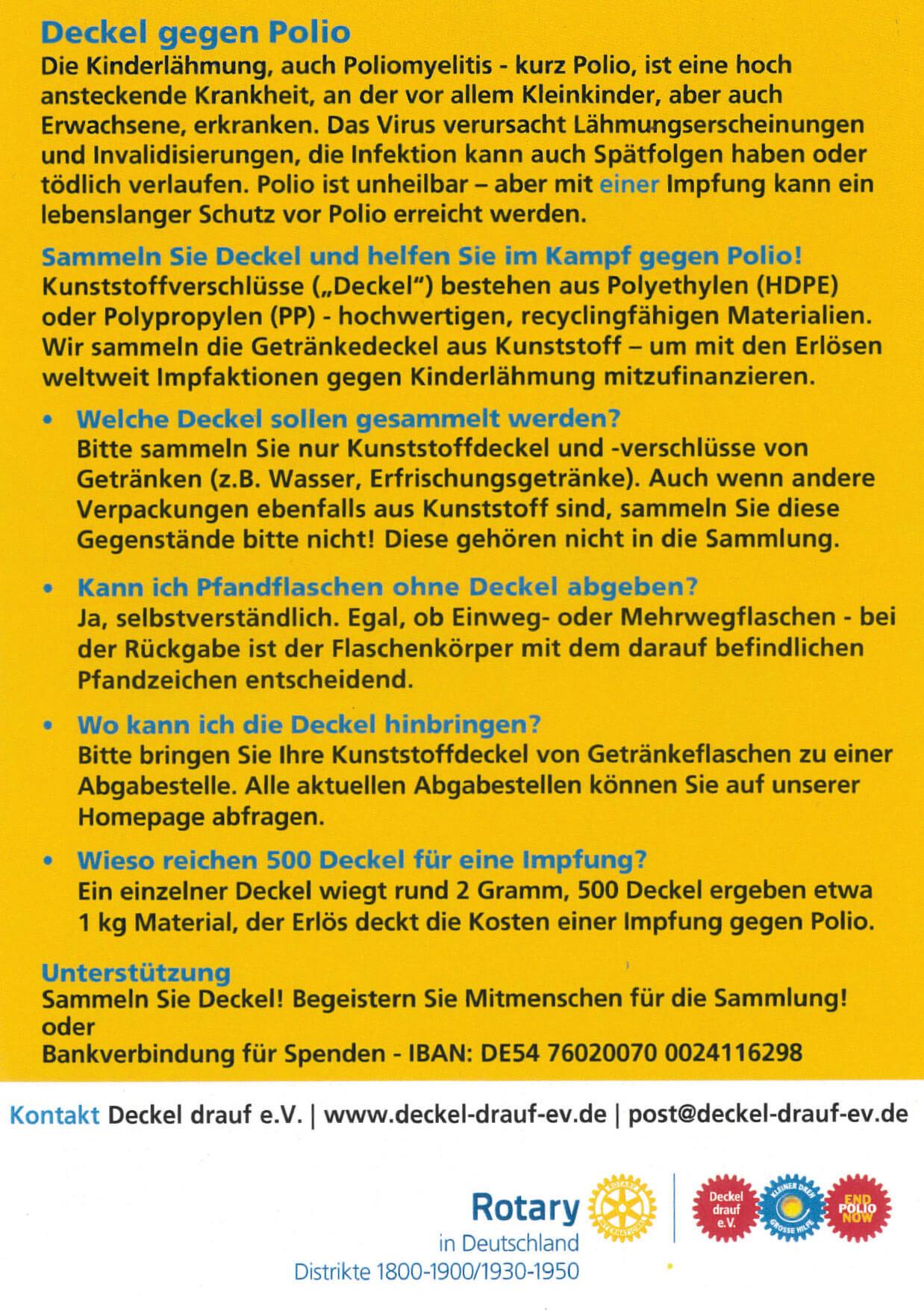 Deckel gegen Polio - Rotary Club Datteln-Lippe
